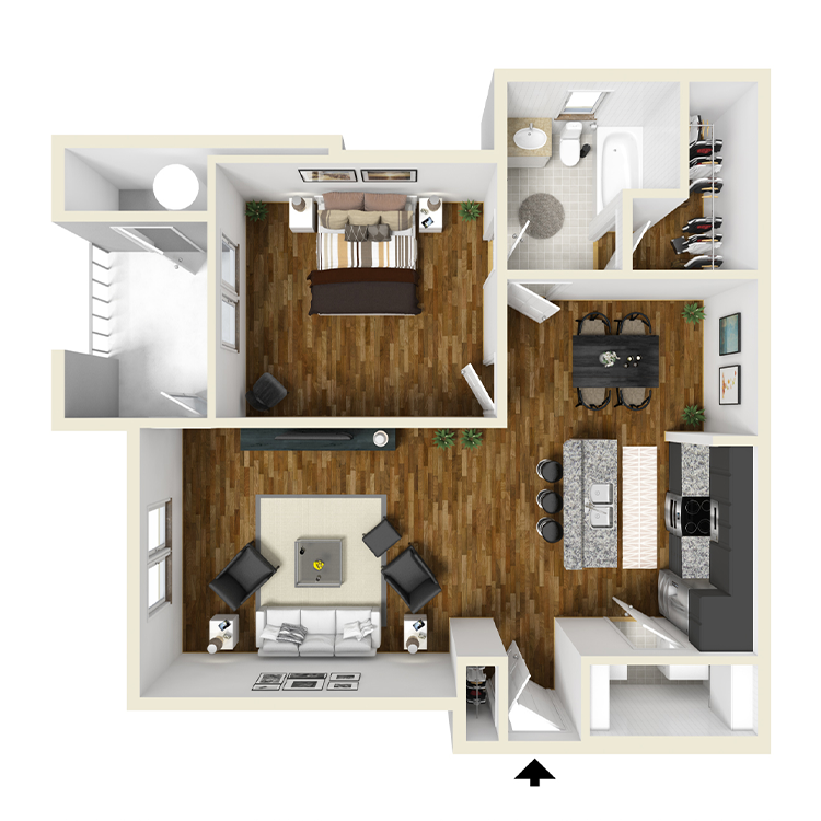 1 Bed | 1 Bath Floorplan