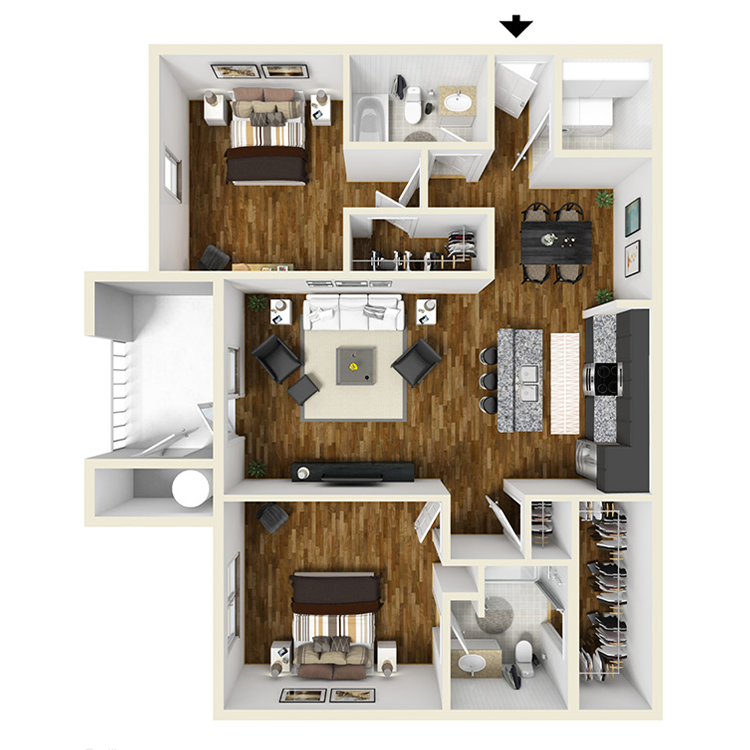 2 Bed | 2 Bath Plus Floorplan